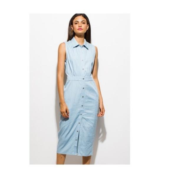 56103d517ffd Chambray Sleeveless Denim Midi Dress. Boutique